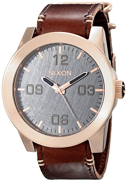 NIXON Men's Corporal Series Analog Quartz Watch / Leather or Canvas Band / 100 M Water Resistant and Solid Stainless Steel Case