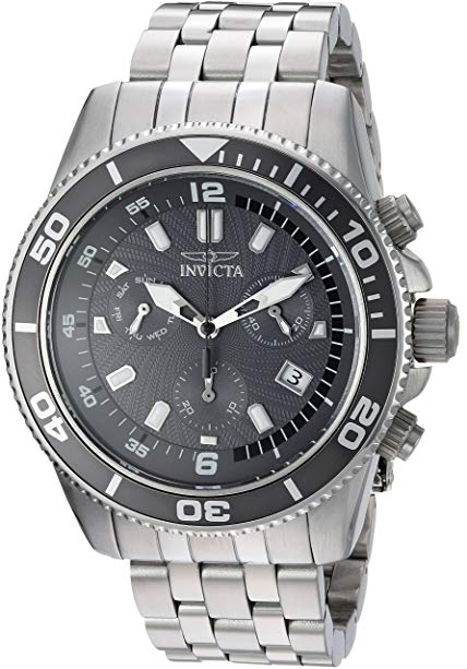 Invicta Men's 'Pro Diver' Quartz Stainless Steel Diving Watch, Color:Silver-Toned (Model: 24653)