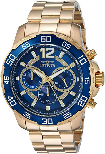 Invicta Men's 'Pro Diver' Quartz Gold-Tone and Stainless Steel Casual Watch, Color:Gold-Toned (Model: 22714)