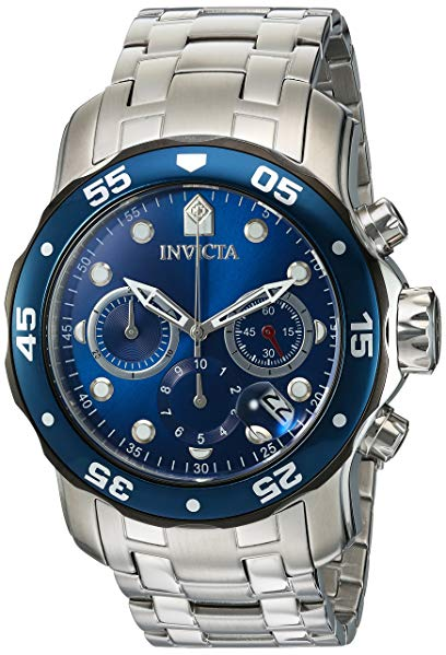 Invicta Men's 'Pro Diver' Quartz Stainless Steel Diving Watch, Color:Silver-Toned (Model: 21784)